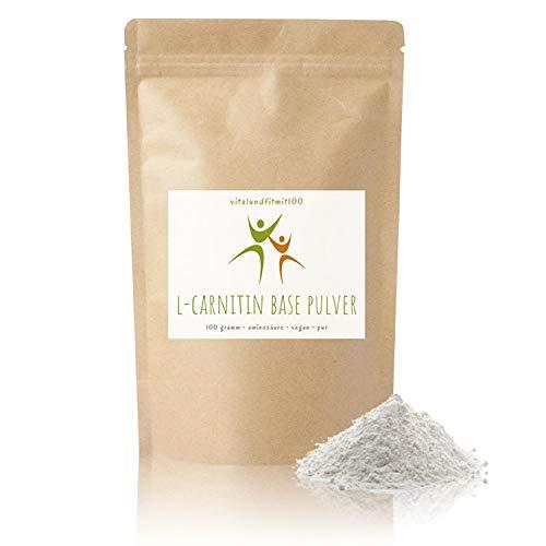 L-Carnitin Base Pulver - 100 g - Aminosäure - Fatburner - 100{b1d73710feee706f51c0e9137f633bbfec2fd9878e64381b5e0f192f9b6abe35} veganes, reines Pulver, glutenfrei, laktosefrei - OHNE Hilfs- u. Zusatzstoffe