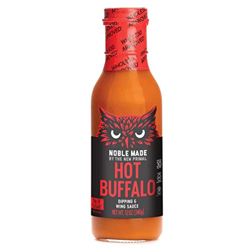 The New Primal Hot Buffalo Dipping & Wing Sauce, Whole30 & Paleo Approved, Gluten, Dairy & Soy Free, 12 Fl Oz