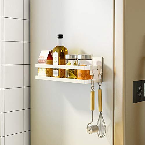 SNTD Magnetic Shelf Organizer Kitchen Spice Rack Laundry Shelves w/Utility Hooks, Black