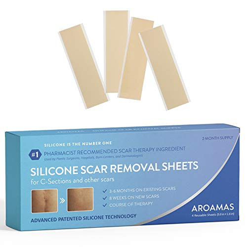 Aroamas Professional Silicone Scar Removal Sheets for Scars Caused by C-Section, Surgery, Burn, Keloid, Acne, and more, Soft Adhesive Fabric Strips, Drug-Free, 5.7'1.57, 4 Reusable pcs (2 Month Supp