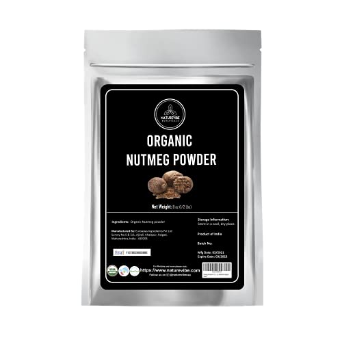 Naturevibe Botanicals Organic Nutmeg Powder 8oz | Non-GMO and Gluten Free | Indian Spice | Adds Aroma and Flavor...[Packaging may vary]