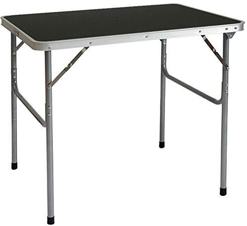 AMANKA Tavolino da PIC-nic 80x60x70cm Tavolo da Campeggio mercatino 3Kg in Acciaio Pieghevole Formato Valigia Grigio Scuro