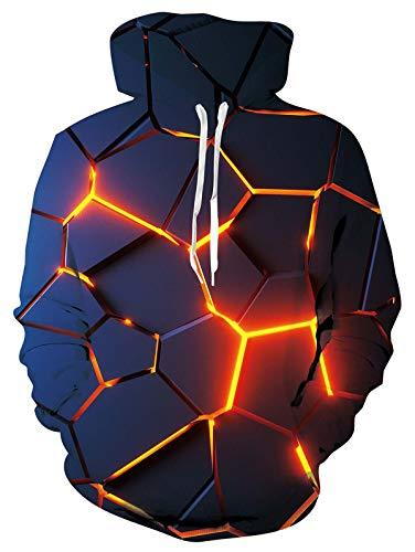 ALISISTER 3D all-Over Geometria Digitale Hoodie Felpa con Cappuccio Uomo Teenager Ragazzi Hooded Jumper con Coulisse e Fodera in Pile M