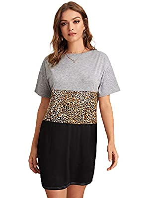 Material:100% Polyester. Slight Stretch. casual tshirt dress, feature with leopard print, good for daily wear. Colorblock, Leopard Print, Contrast Sequin, Short Sleeve, Round Neck Perfect for summer, casual going out, vocation, travel, shopping, dail...