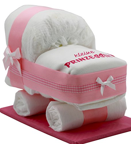 """Kleine Windeltorte/Windelwagen rosa für Mädchen - mit Lätzchen\""""kleine Prinzessin\"""" - das perfekte Geschenk zur Geburt oder Taufe + gratis Klappkarte"""