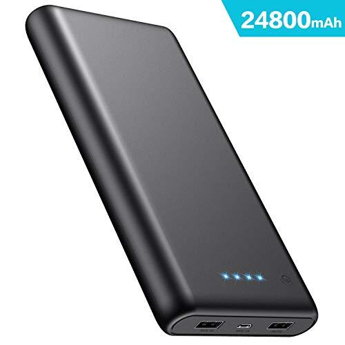 iPosible Power Bank 24800mAh, Caricabatterie Portatile 2 USB Porte, Batteria Esterna Carica Veloce Batteria Portatile per Cellulare,Tablet -Nero