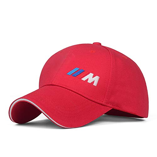 Westion Red Color Car Logo Embroidered Adjustable Baseball Caps for Men and Women Hat Travel Cap Car Racing Motor Hat (fit BMW-m)