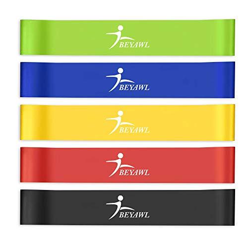 BEYAWL Bande Elastiche Fitness (5 Pezzi), con 5 Livelli di Resistenza, Fascia Elastica Esercizi...