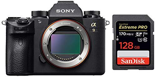 Sony ILCE-9 Full-Frame 24.2MP Mirrorless Interchangeable Lens Camera Body Only (Black) + SanDisk 128GB Extreme Pro SDXC UHS-I Card - C10, U3, V30, 4K UHD, SD Card 1