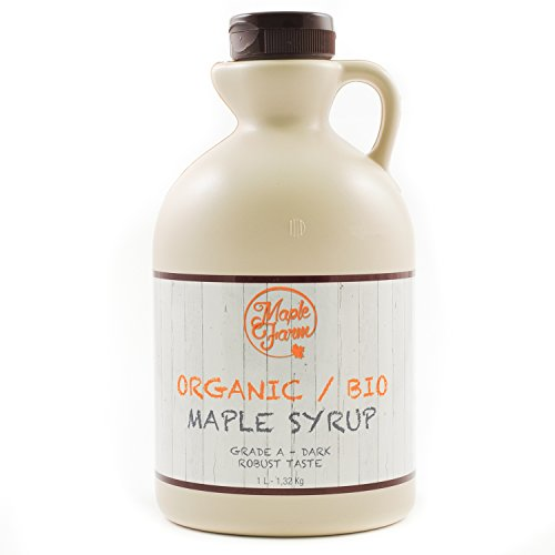 Puro sciroppo d'acero BIO Canadese Grado A (Dark, Robust taste) - 1 litro (1,35 Kg) - Organic maple...
