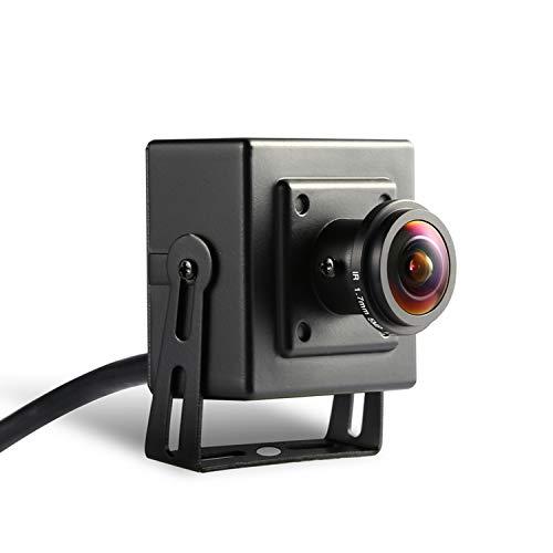 POE Fisheye 3MP Mini Telecamera IP - Revotech - H.265 1080P 1296P 2MP Interno Metallo Telecamera di Sorveglianza Visione Notturna ONVIF P2P CCTV Cam Sistema (I706-3-P Nero)