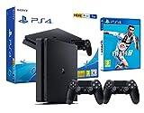 PlayStation 4 SLIM Noir 1To, 2x DualShock Noir 4 neuf V2, câble HDMI, câble USB, câble d'alimentation EU inclus. FIFA 19 (Box et manuel en langue anglais/espagnol dépend de la disponibilité) Fonctionnement du PS4/Jeux entièrement 100% en Français (et...