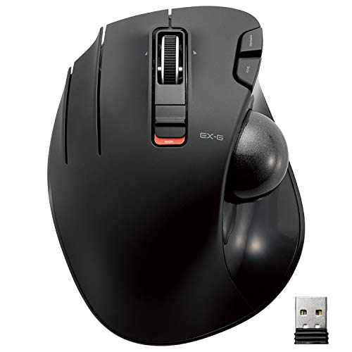 ELECOM Left-Handed 2.4GHz Wireless Thumb-operated Trackball Mouse, 6-Button Function with Smoot…