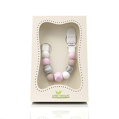 Little Sprouts - Schnullerkette - 2 n 1 - Modern und Trendy - Silikonperlen mit einzigartigen Formen - Ideal für Beißringe, Stofftiere, Soothie/Mam, Babydecken & Sabber Lätzchen - Mädchen Binky-Halter