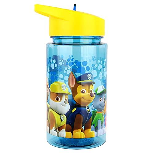 P:os 28230 - Botella de agua para niños, aprox. 450 ml, diseño transparente con diseño de La Patrulla Canina y pajita integrada para abatible, de plástico, sin BPA ni ftalatos