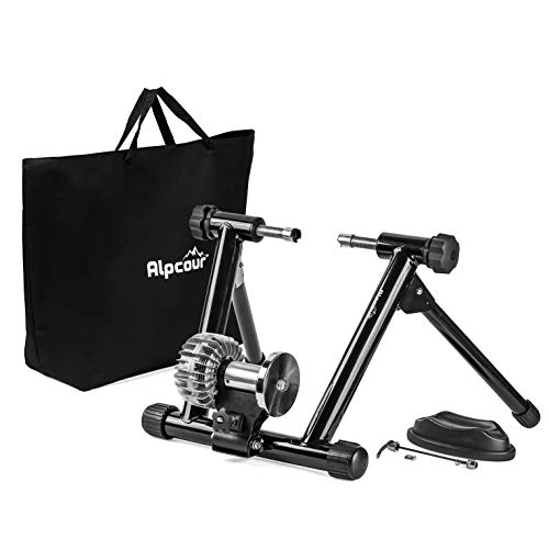 Alpcour Fluid Bike Trainer Stand  Portable Stainless Steel Indoor Trainer w/Fluid Flywheel, Noise Reduction, Progressive Resistance, Dual-Lock System  Stationary Exercise for Road & Mountain Bikes