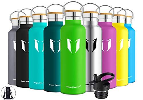 Super Sparrow Trinkflasche Edelstahl Wasserflasche - 750ml - Isolier Flasche mit Perfekte Thermosflasche für Das Laufen, Fitness, Yoga, Im Freien und Camping | Frei von BPA (Apfelgrün)