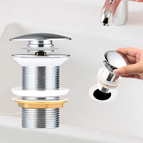 Yimorex Universal Ablaufgarnitur für Waschbecken & Waschtisch Chrom Pop Up Ventil Ablaufventil Ablaufgarnitur aus Messing - ohne Überlauf