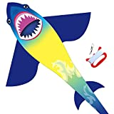 HONBO Huge Shark Kites for Kids & Adults, Easy to Assemble Fly Beginner Kite for Boys & Girls for Outdoor Game, Beach Trip, Large Kite Flyer 75'x45' with Long Tail, and 50 Meters String for Summer