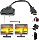 Sys Prise HDMI 1 mâle vers Double HDMI 2 femelle Y adaptateur de câble de...