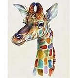 Animal Girafe de couleurAnimal Girafe de couleur5D DIY numérique Peinture_PréimpressionToile_Enfants Adultes peint à la Main Peinture murale Chiffon Peinture Salon Décoration—40x50cm sin Marco