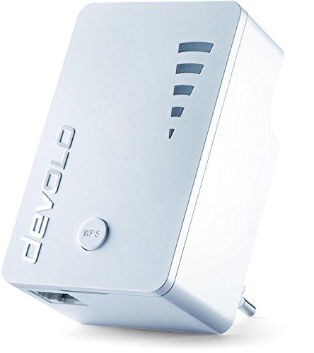 devolo WiFi Repeater ac (1200 Mbit/s, 1x Gigabit Ethernet LAN Port, WPS, WLAN Repeater und WLAN Verstärker, WiFi Extender, 5 stufige Signalstärkeanzeige, Accesspoint-Funktion, kompaktes Design) weiß