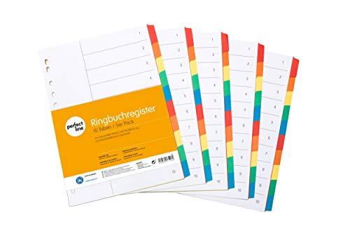 perfect line 5er Pack 10-teiliges DIN-A4 Register farbig (5x10), 22,3 x 29,7 cm, mit Deckblatt, Farb-Trenner aus Karton in 5 Farben, 160 g, perfekte Trenn-Blätter für die Ordner-Organisation im Büro