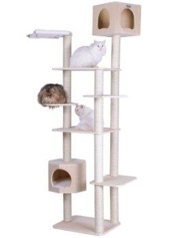 Armarkat-89-Solid-Wood-Cat-Tree-Condo-Furniture-S8902-Tan-49L-X34W-X89H