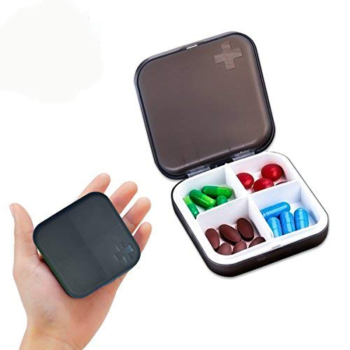 Zoiibuy Pilulier de Voyage Boîte à Pilules Vitamines de 4 Cases de...