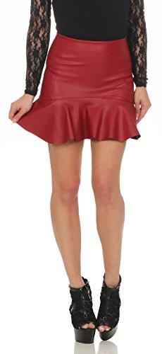 Fashion4Young 11044 Damen Rock Minirock Rock Lederimitat Skirt Volantrock Damenrock (S=36, Rot)