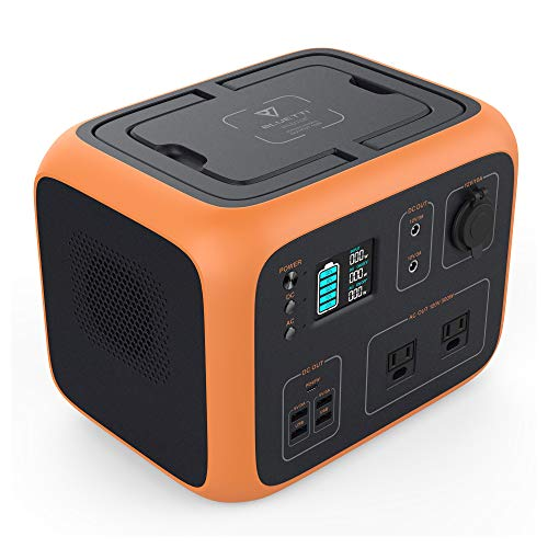 MAXOAK Power Station 500Wh Solar Generator Bluetti AC50 Wireless Charging Battery Backup for Outdoor Tailgating Camping RV Trip Power Outage(Dual AC Outlet,Pure Sine-Wave,PD 45W USB-C, LED Lighting)