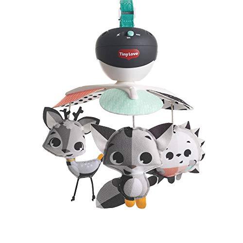 Tiny Love Baby-Mobile, Take Along Musik-Mobile für unterwegs und zuhause, Baby-Spieluhr ab der Geburt (0M+) lässt sich einfach an Babyschale und Kinderwagen befestigen, Magical Tales black & white