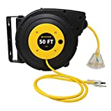 Lightkiwi L3794 50-ft Retractable Extension Cord Reel, 14/3 AWG SJTOW Power Cord, Lighted Triple Tab...