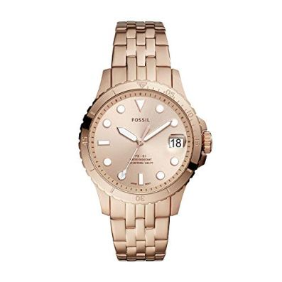 Fossil Women's FB-01 Quartz Watch with Stainless Steel Strap, Rose Gold, 18 (Model: ES4748)