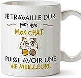 Mugffins mug Tasses de Petit déjeuner Originales - Je Travaille Dur pour Que Mon Chat puisse Avoir Une Vie Meilleure - idées de Cadeaux drôles d'an