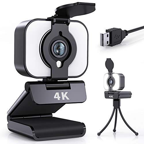 Webcam con microfono, 4 K UHD ad anello integrato, streaming webcam per PC, webcam con microfono stereo, treppiedi, raggio di rotazione a 360°, telecamera USB per videotelefona, giochi, corsi online