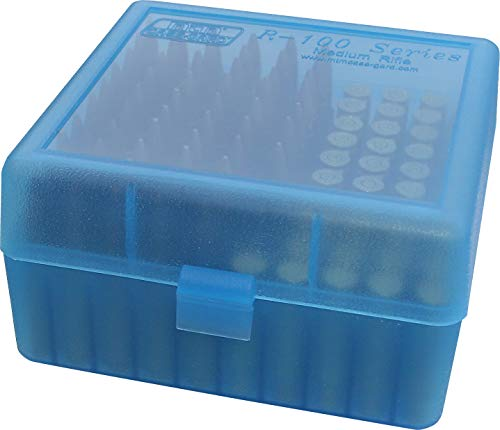 MTM Case-Gard RM-100 Series Medium Rifle Ammo Box, 100 Round, Clear Blue