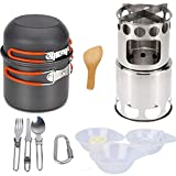 Mellivora Wood Stove Burning Box Post with Non-Stick Pot, Air Inlet Ring Stainless Steel Stand, Camping Cookware Set Portable Backpacking for Outdoors BBQ Hiking Picnic