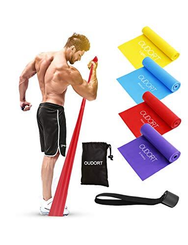 Oudort Bande Elastiche Fitness, Set di 4 1.8m Elastici Fitness Resistenza con Ancoraggio per Porta e...
