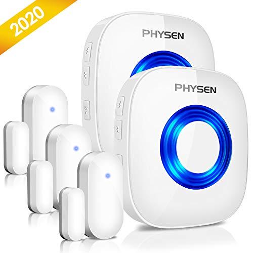 Door Chime Wireless Door Sensor PHYSEN 2020 Upgraded Window Alarm Door Open Chime Door Alarm Kit with Mute Mode, 5 Volume Levels, 58 Melodies, 600 FT Range, Bright LED Indicator for Home Business