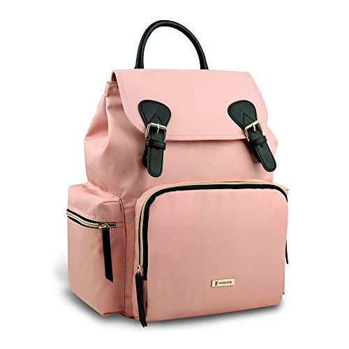 Vogshow Waterproof Diaper Bag, Multifunction Stylish Travel Backpack Maternity Nappy Bag for Baby Care, Large Capacity and Durable (Pink)