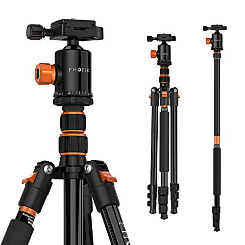 PHOPIK 77' Camera Tripod,Travel Tripod for DSLR,Professional Tripod with 360 Degree Ball Head,Camera Tripods & Monopods with Carry Bag for Ipad,Phone,Canon,Nikon,Lightweight Load up to 17.6 Pounds