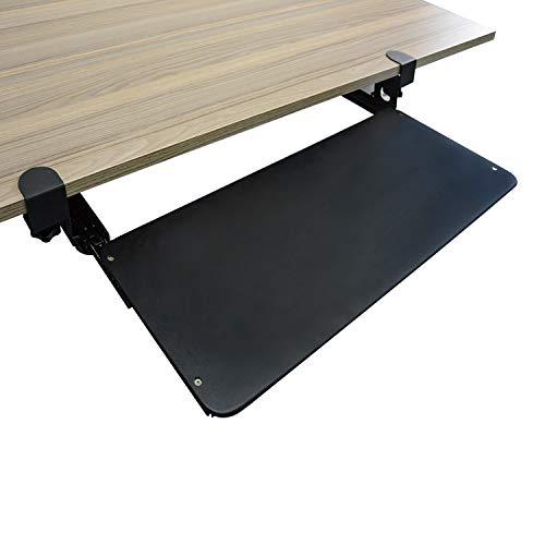 uyoyous Tastaturauszug Tastaturhalterung Ausziehbare Tastaturablage Untertischmontage Tastaturschublade und Maus Halterung für Keyboard Neigbar Metall Schwarz