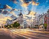 AOlsyh Paisaje de la Ciudad de Madrid DIY Pintura de Bricolaje por Kit Digital Mejores niños en Lienzo Pittura a Olio Digitale FAI da te su Tela 40x50cm Frameless