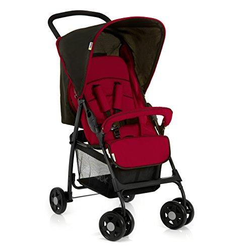 Hauck Buggy Sport / mit Liegefunktion, klein zusammenfaltbar / für Kinder ab Geburt bis 15 kg, Caviar Tango/Rot