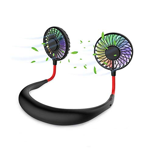 ハンズフリー 扇風機 充電式 3段風量調節 くびかけ ファン 小型 USB扇風機 オフィス アウトドア 静音運転 お手入れ簡単 熱中症対策 首かけ扇風機 3段階調節 角度調整可 (黑)