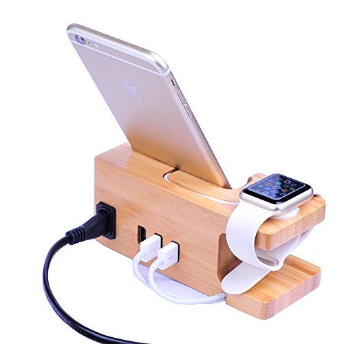 AICase Bamboo Wood USB Charging Station, Desk Stand Charger, 3 USB Ports 3.0 Hub, for iPhone 7/7Plus/6s/6/Plus/5s & 38mm/42mm Apple Watch, Samsung & Most Smartphones (Bamboo Wood)