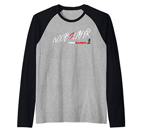 Funny Cool Noob Slayer Best Gaming Gamer Console PC Player Raglan Baseball Tee