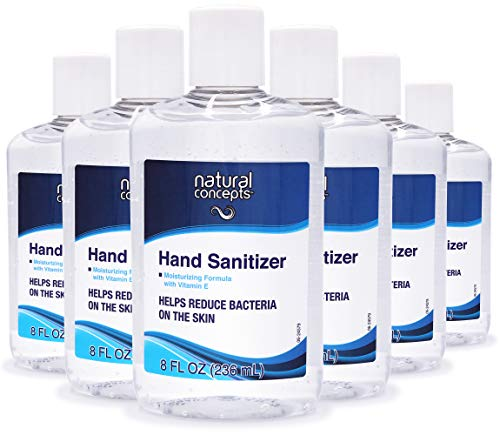 Natural Concepts Hand Sanitizer Gel, 65% Ethyl Alcohol with Vitamin E, Family Value 6 Pack of 8 oz. bottles, Protect Against Germs, Made in Canada
