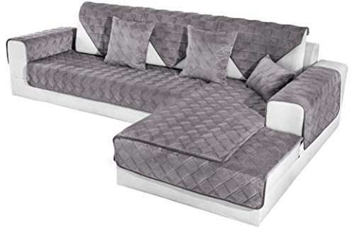 OstepDecor Couch Cover, Sofa Cover, Quilted Sectional Couch Covers, Velvet Sofa Slipcover for Dogs Cats Pet Love Seat Recliner Leather L Shaped, Armrest Backrest Cover, Dark Grey 36 x 70 Inches